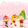 Ice skating kids:christmas holiday Royalty Free Stock Photo