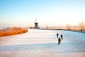 Ice skating at Kinderdijk in Netherlands Royalty Free Stock Photos