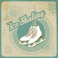 Ice skating retro card in style fully layered eps Royalty Free Stock Photo
