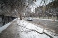 Ice storm toronto december traffic moves in icy condition after the icestorm hits toronto on december Royalty Free Stock Photos
