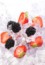 Ice Strawberries and Blackberries Stock Photo