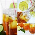 Ice tea collage a of fresh drink Royalty Free Stock Image