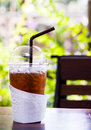 Ice tea cup on wood table Royalty Free Stock Photo