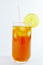 Ice tea glass of fresh and slice of lemon Royalty Free Stock Photo