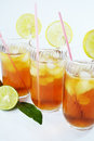 Ice tea glasses of cold refreshing drink and lemon slices Royalty Free Stock Photo
