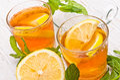 Ice tea with lemon. Royalty Free Stock Photo