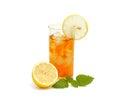 Ice tea with lemon and lemon balm Royalty Free Stock Photo