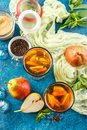 Ice tea with mint leaves and pear Royalty Free Stock Photo