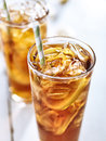 Ice tea with straw closeup Royalty Free Stock Photo