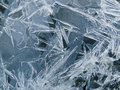 Ice texture beautiful crystals on the surface water Royalty Free Stock Photo