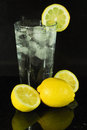 Ice Water with a fresh slice of lemon Stock Photography