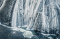 Ice waterfall in winter season