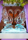 The ice wedding decoration with two swans Royalty Free Stock Photo