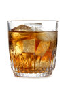 Ice in whiskey glass cup of on white background Royalty Free Stock Photography