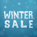 Ice winter sale on blue background Stock Photo