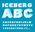 Iceberg font. Ice alphabet. Set of letters from cold ice. Frosty