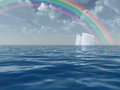 Iceberg with rainbow scene Royalty Free Stock Photography