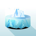 Iceberg Slice Underwater and Above Water Level View - Vector Ill Royalty Free Stock Photo