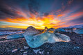 Icebergs at crystal black beach Royalty Free Stock Photo
