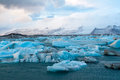 Icebergs drifting to sea in jokulsarlon iceland Royalty Free Stock Photos