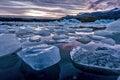 Icebergs floating in Jokulsarlon glacial lagoon Royalty Free Stock Photo
