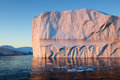 Icebergs huge travel on the scientific vessel among ices studying of a phenomenon of global warming importance of preservation of Stock Photography