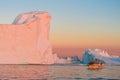Icebergs in the midnight sun, Ilulissat, Greenland Royalty Free Stock Photo