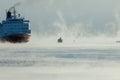 Icebreaking ferry arriving at Helsinki port