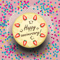 Icecream anniversary cake decorated with strawberries and confetti vector illustration Stock Photography