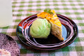 Icecream and banana cake on black plate Royalty Free Stock Image
