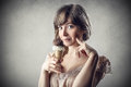 Icecream a girl is eating Royalty Free Stock Photography