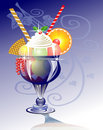 IceCream in glass blue Royalty Free Stock Images