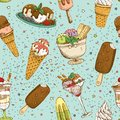 Icecream seamless background pattern vector illustration Stock Photography