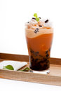 Iced blended coffee on dish wood Stock Image