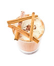 Iced blended frappe coffee with cinnamon isolated on white back background selective focus Royalty Free Stock Photo