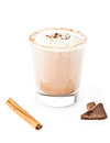 Iced blended frappe coffee on white background selective focus Stock Photography