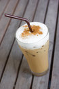 Iced cappuccino ice coffee on a wooden table Stock Photo