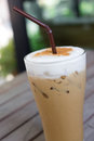 Iced cappuccino ice coffee on a wooden table Stock Photos