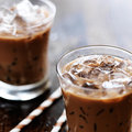 Iced coffee close up two glasses of shot with selective foc us Stock Photography