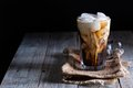 Iced coffee in a tall glass with cream poured over Royalty Free Stock Photos