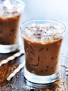 Iced coffee two glasses of shot with selective foc us Stock Photo