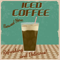 Iced coffee vintage poster grunge vector illustration Stock Photography