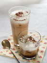Iced coffee with whipped cream selective focus Royalty Free Stock Photography