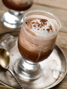 Iced coffee with whipped cream selective focus Royalty Free Stock Photo