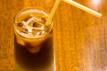Iced latte coffee fresh at the table Royalty Free Stock Image