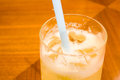 Iced lemonade a cold with straw Royalty Free Stock Photography