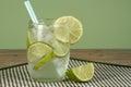 Iced lemonade and lime juice Stock Photo