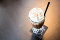 Iced mocha coffee cup of with whipping cream Royalty Free Stock Photo