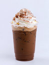 Iced mocha with whip cream topping Royalty Free Stock Image