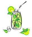 Iced mojito with lime and mint alcohol cocktail in glass straw on white vector eps illustration Stock Images
